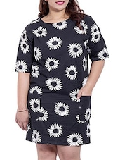 Black, White Colored Cotton  Shift Dress - By