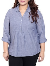 Blue Colored Cotton Top With Pin Tucks - By