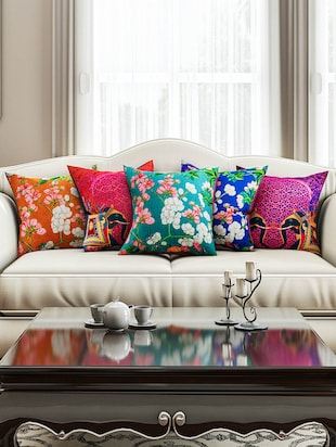 SEJ Abstract Multicolor   HD Digital Premium 16 by 16 INCH Cushion Cover (Set of 5)(SBCCDP0115P)