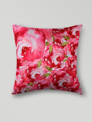 Pink polyester printed floral cushion cover