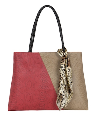 Beige & maroon Synthetic faux  color block Leather  handbag