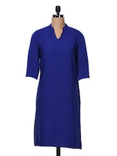 Quarter Sleeves Plain Cotton Kurta - Free Living