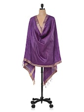 Purple Cotton Silk Dupatta - Inara Robes