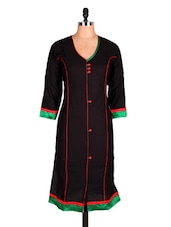Black Three Quarter Sleeve Cotton Kurti - Sale Mantra