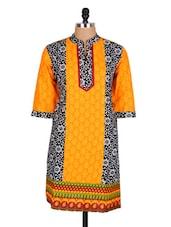 Orange Floral Printed Cotton Kurti - Sale Mantra
