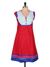 Red Paisley Printed Cotton Kurti - Sale Mantra