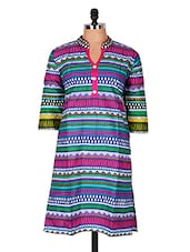 Multicolour Aztec Printed Cotton Kurti - Sale Mantra