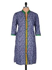 Blue Printed Cotton Kurti - Sale Mantra