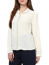 White Poly Georgette Shirt - By