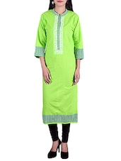 Parrot Green Cotton Regular Kurta - By