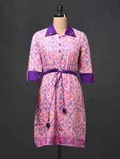 Cotton Printed Shirt Collar DRESS - Glam And Luxe