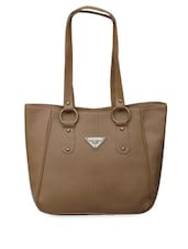 Beige Plain Leatherette Handbag - FOSTELO