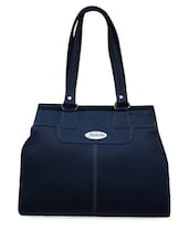 Navy Blue Plain Structured Leatherette Handbag - FOSTELO