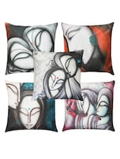 Set Of Five Face Paintings Cushion Cover - Belkado