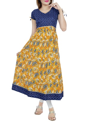Mustard cotton anarkali kurta