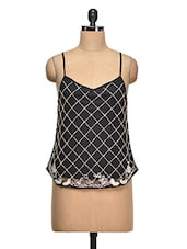 Camisole Neck Embroidered Net Top - Ozel Studio