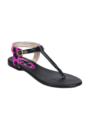 purple leatherette back strap sandals