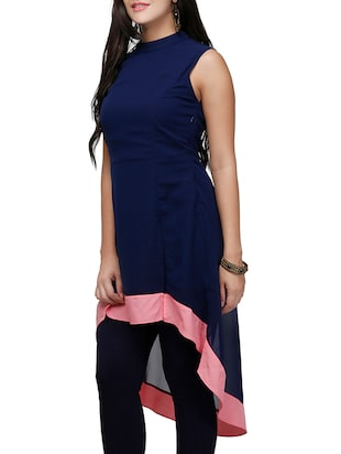 Blue poly georgette high low kurta - 10039863 - Standard Image - 2