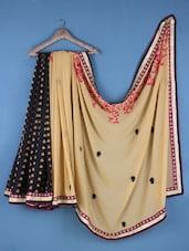 Beige And Black Georgette Embroidered Saree - Viva N Diva