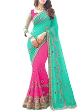 Blue And Pink Georgette Net Embroidered  Saree - By