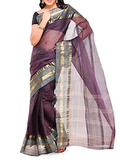 Cotton Saree With Paisley Work Border - Mmantra