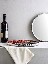 Set Of 6 Silver Stainless Steel Dinner Plate - By
