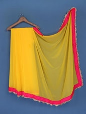 Yellow Pure Chiffon Saree - FABIONA
