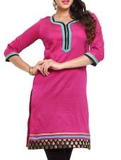 Pink Polyester Kurta - Mytri