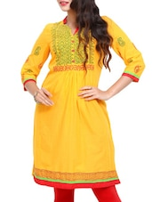 Yellow Quarter Sleeves Kurta - Mytri