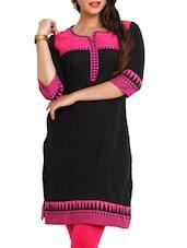 Black & Pink Quarter Sleeves Kurta - Mytri