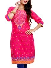 Pink Printed Cotton Kurta - Mytri