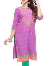 Purple Printed Cotton Kurta - Mytri