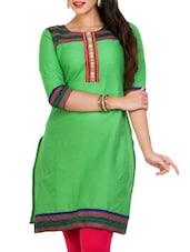 Green Cotton Kurta - Mytri
