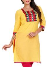 Yellow Cotton Kurta - Mytri