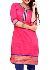 Pink Quarter Sleeves Polyester Kurta - Mytri