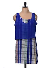 Blue Multicolor Checked Poly Crepe Dress - MOTIF