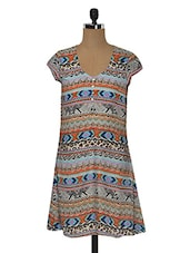 Multicolor Aztec Printed Rayon Dress - MOTIF