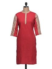 Red Quarter Sleeves Cotton Kurta - Aana