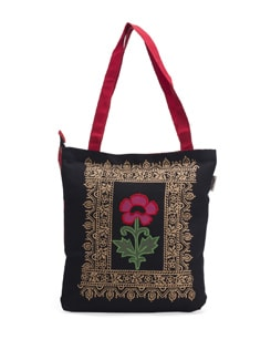 Black Tote With Pink Flower Motif And Golden Patterns Around The Corner - Pick Pocket
