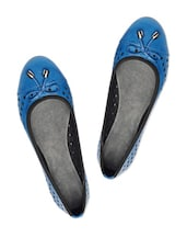 Polka Dot Cutwork Cerulean Blue Ballerina Flats - Bruno Manetti