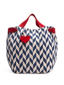 Blue And White Handbag With A Red Heart-shaped Tassel - Pick Pocket