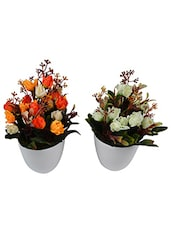 Set Of 2 Piece Artifical Flower Plants With Pots Style - By