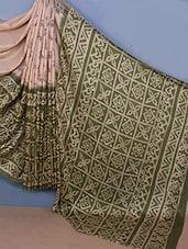 Beige & Green Printed Jute Silk Saree - Fabdeal