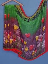 Multicolored Floral Print Chiffon Saree - Fabdeal
