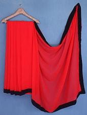 Black Border Red Chiffon Saree - Fabdeal