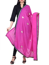 Gota Border Dupatta With Gota Patti Work - By