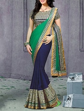 Green, Blue Georgette Embroidered  Saree - By