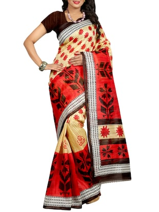 red & beige bhagalpuri saree