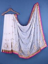 White Chiffon Embroidered Saree - Suchi Fashion