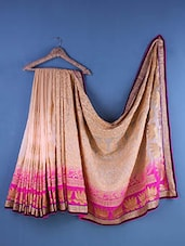 Beige Chiffon Floral Embroidered Saree - Suchi Fashion
